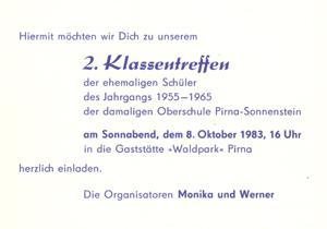 die kinder vom sonnenstein 2. klassentreffen 1983, Einladung